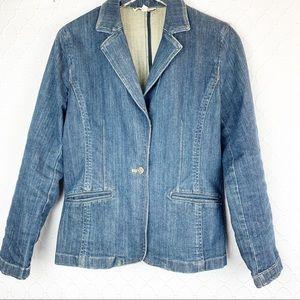 ANN TAYLOR Denim Jean Blazer Jacket Size 10